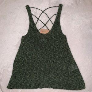Cross back sweater tank top